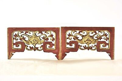 Pair Antique Chinese Red Gilt Wood Carving / Carved Panel, Qing Dynasty, 19th c