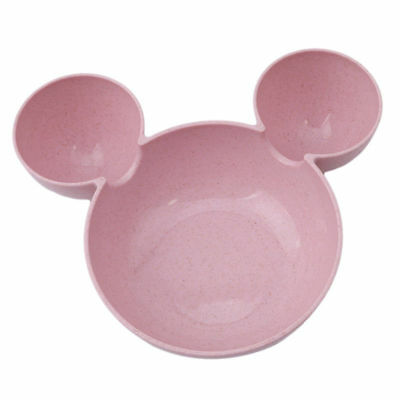 Durable Kids Plate Wheat Straw Children Plate Cartoon Mouse Kids Bowl Cute Pink
