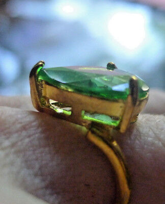 Vintage Ring Faux Emerald Gold Plated Big- nz Estate- 2 or more all free post