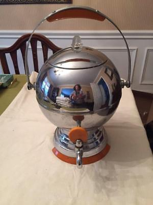 Vintage Art Deco Chrome Bakelite Ball Coffee Maker Pot Percolator Butterscotch