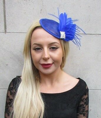 Royal Blue Silver Sinamay Feather Pillbox Hat Fascinator Hair Clip Races 6701