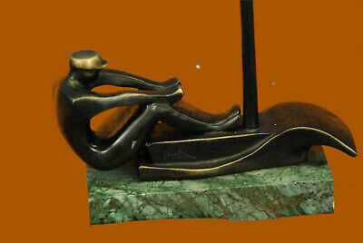Bronze and Cast Iron Man Male Rowing Row Boat Canoe Figurine Desktop Statue Sale