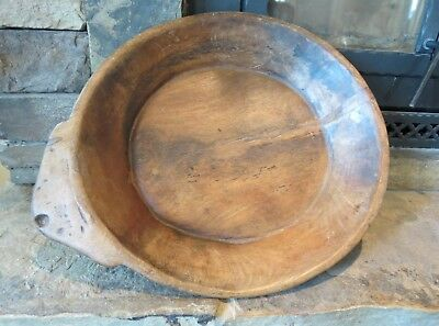 "Hand Carved Antique Round Wooden Dough Bowl, 21"" Wide, Circa 1900, primitive"