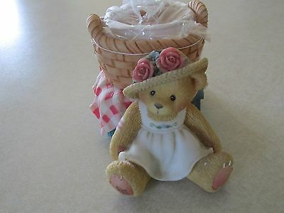 1998 Enesco Cherished Teddies Girl with Basket Candleholder Red Picnic Cloth