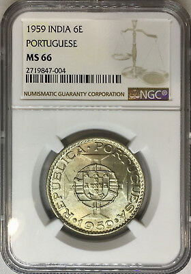 1959 MS66 Portuguese India 6 Escudo KM# 35 Pop 7/4 143 Registry pts NGC UNC