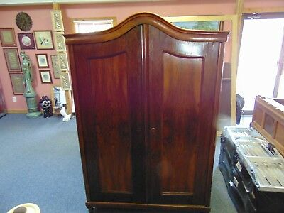 "Antique Mahogany Wood Highly Carved Armoire Doves Floral  85 1/2"" TALL"