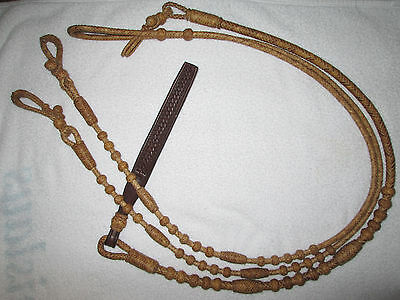 "Romal Reins - Oklahoma Style - 12 plt. Regular  48"" with rein connectors Rawhide"