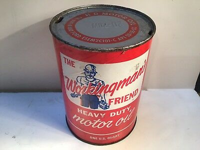 Vintage Workingmans Oil Quart Can gas rare sign tin handy Mobil Oilzum Texaco GM