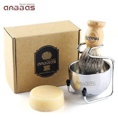 Men's Shaving Set Badger Hair Shaving Brush Stand Holder Mug Cup Bowl Soap Set