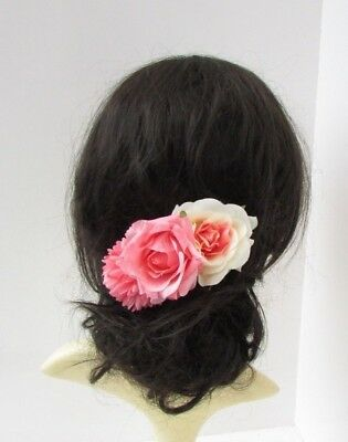 Coral Peach Pink Cream Rose Flower Hair Comb Fascinator Floral Bridesmaid 6715