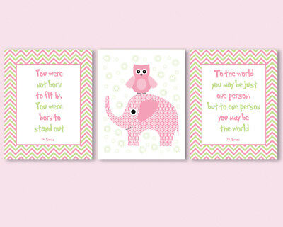 3 prints for baby girl nursery - Dr Seuss quotes, pink and green, owl, elephant