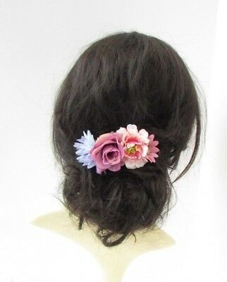 Lilac Blush Pink Purple Daisy Rose Flower Hair Comb Fascinator Floral Vtg 6716