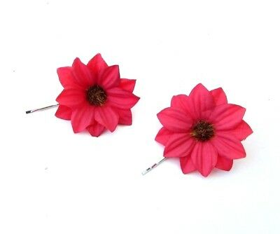 2 x Red Daisy Flower Hair Grips Bobby Pins Clip Fascinator Bridesmaid Boho 6723