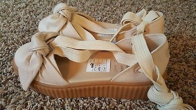 PUMA FENTY RIHANNA Natural Oatmeal Lace Up Ballet Bow Creeper Sandal ... 2b524e995