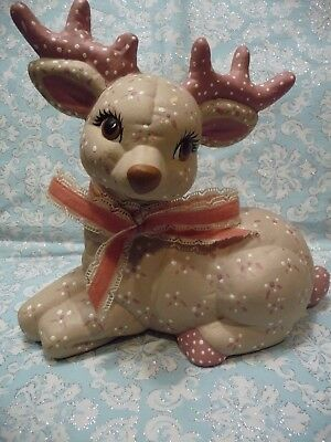 Cute Shabby Vintage Ceramic Softee Christmas Reindeer