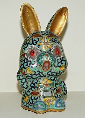 Antique ~ Unique ~ Cloisonné Bunny ~ Real Gold Gilt ~ Peking Ruby Glass Eyes