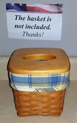 Tall Tissue Basket Liner from Longaberger Cornflower Plaid fabric! New!