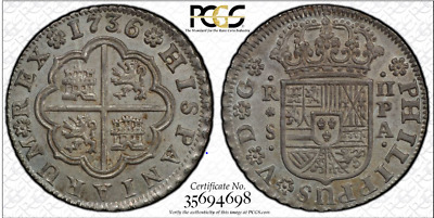 "Seville, Spain, milled 2 reales ""pistareen,"" Philip V, 1736PA, PCGS MS64,TOP POP"