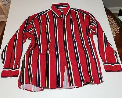 Vintage 90s Ralph Lauren Chaps Striped Button-Down Collar Shirt Mens XL