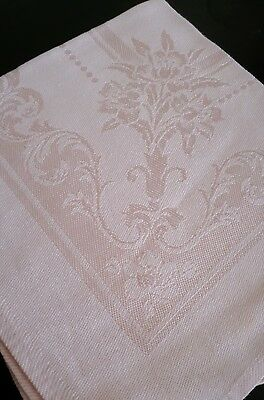 Antique Irish Damask Linen Tablecloth in blush pink with napkins