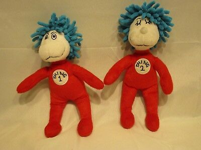 "Dr Seuss * Cat in the Hat Thing 1 & 2 Set * Universal Studios Plush 9"" Dolls"