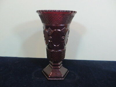 "Vintage Avon 1876 Cape Cod Ruby Red Glass 8"" Tall Flower Vase"