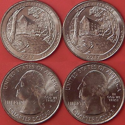 Brilliant Uncirculated 2017 P & D US Ozark Riverways 25 Cents From Mint's Rolls