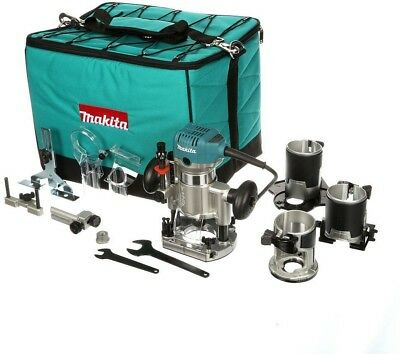 Makita 6.5 Amp 1-1/4 HP Corded Variable Speed Compact Router with 3 Bases Tilt,