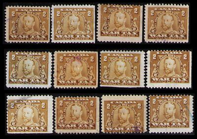 "CANADA REVENUE 1915 2c #FWT8 x 12 USED  ""WAR TAX"" STAMPS NICE LOT"