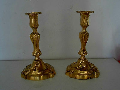 PAIRE DE BOUGEOIRS LOUIS XV EN BRONZE DORE..Chandeliers,candlesticks
