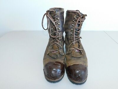 fbae54c6eb7 MEN'S CHIPPEWA BROWN Steel Toe Logger Work Boot Size 9.5 D Made in USA  #20091