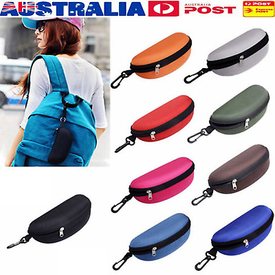Portable Zipper Eye Glasses Clam Shell Sunglasses Protect Hard Case Box Exqu