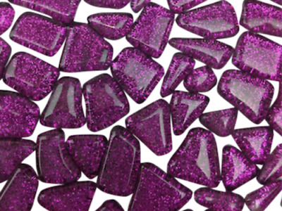 Purple Glitter Glass Mosaic Tiles Irregular Shaped - Art Craft Supplies