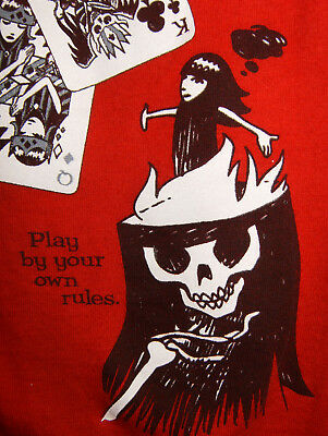 Emily the Strange Med Red Short Sleeve Shirt Cards Play by Your Own Rules 2003