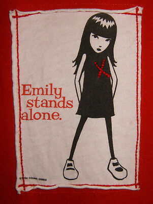 Emily the Strange Large Red Short Sleeve Shirt Emily Stands Alone ESP 2006 GUC!