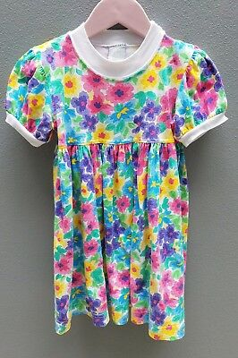 VINTAGE 80s Girls Dress Size 2 Floral Cotton Australian Made Casual Baby Doll