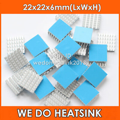 8pcs 22*22*6mm Aluminum Heatsink Radiator Heat Sink Cooler With Thermal Tape