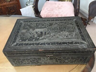 Large Antique South East Asian Lacquer Ware Box