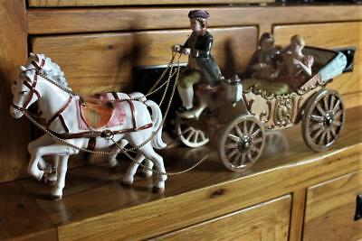 Vintage Musical Coach & Horses Figural Group Capodimonte Style Made By Bond Ware