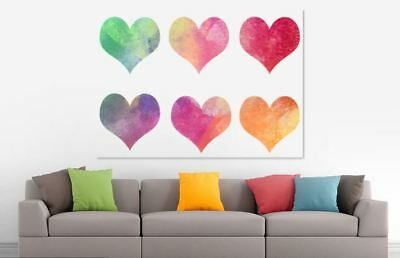 LOTS OF HEARTS WATERCOLOR COLORFUL ART WALL DECOR Pictures Canvas choose  size