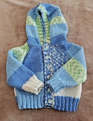 BRAND NEW - Hand Knitted Baby Hooded Jacket -  Age 6-12 Months Approx