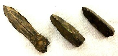 Ancient Chinese Bronze Arrowheads 475BC-221BC Warring States Old China Lot of 3