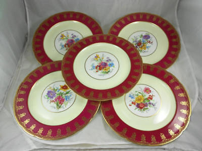 Fabulous Used PARAGON Set of 5 Dinner Plates Gold Filigree and Floral on Maroon