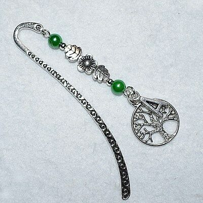 Personalised Any Initial / Letter Tree Of Life Flower Leaf Green Bookmark Gift