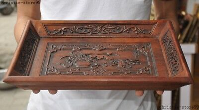 """14""""Old Chinese Huanghuali Wood Auspicious Statue Food Tea Dish Plate Tray Salver"""