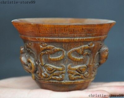 "4""Chinese Old Horns Ox Horn Hand Carved Pixiu Brave troops Beast Statue Bowl Cup"