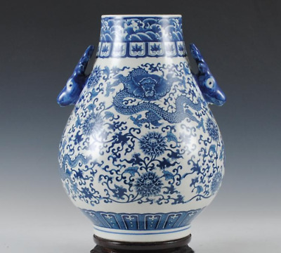 Jingdezhen ceramics Blue and white porcelain Binaural Dragon vase