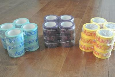 "36 ROLLS Ebay Branded Packing Tape YELLOW, PURPLE, LIGHT BLUE 2"" x 75 yards each"