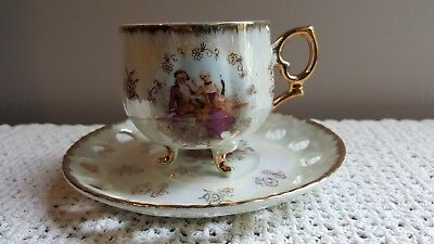 Japan Fine China Luster 3 Footed Courting Couple Reticulated Tea Cup & Saucer