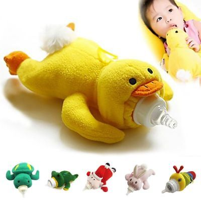 Plush Bottle Warmer Toy Bag Baby Thermal Animal Cover Feeder Insulation Storage
